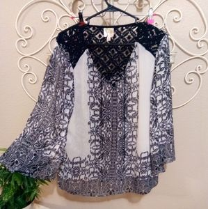 Anthro Fig & Flower Lace Up Blouse